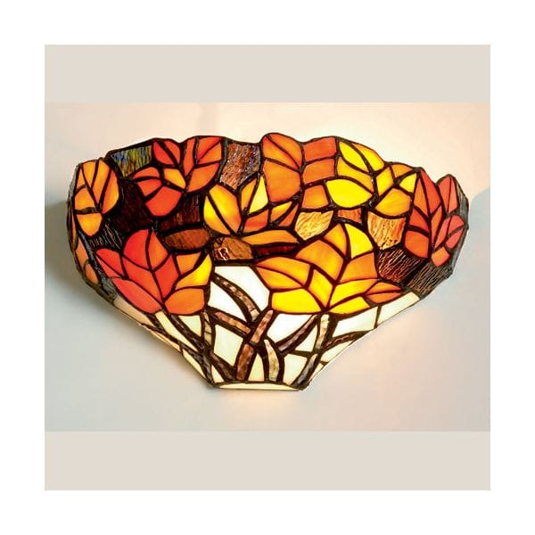 Loxton Lighting Tiffany Red And Orange Leaf Design Wall