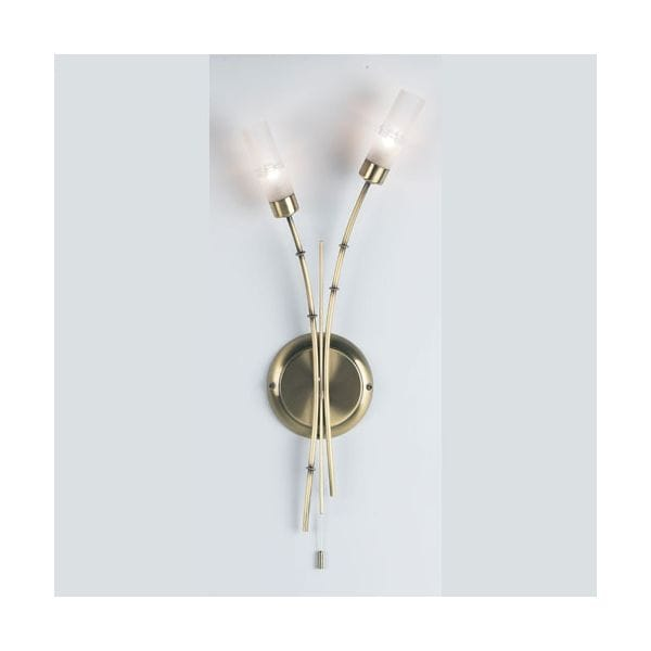 Endon Double Wall Lights : Endon Lighting Bamboo Antique Brass Double Wall Light - Endon Lighting from Castlegate Lights UK