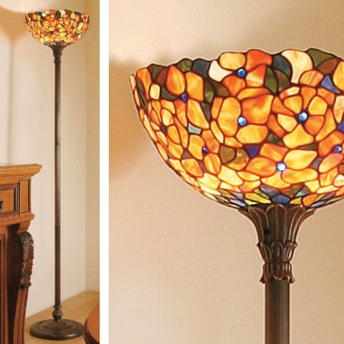 Interiors 1900 josette tiffany single light uplighter for Uplighter single floor lamp