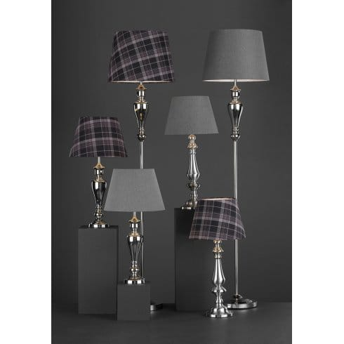 Dar lighting apsley single light floor lamp with tartan for Tripod floor lamp with tartan shade