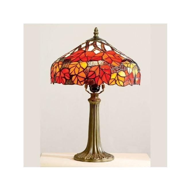 Loxton Lighting Tiffany Red And Orange Leaf Design Table