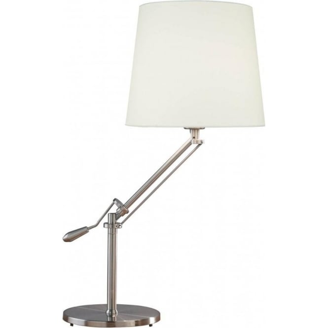 Dar Lighting Infusion Table Lamp In A Satin Chrome Finish
