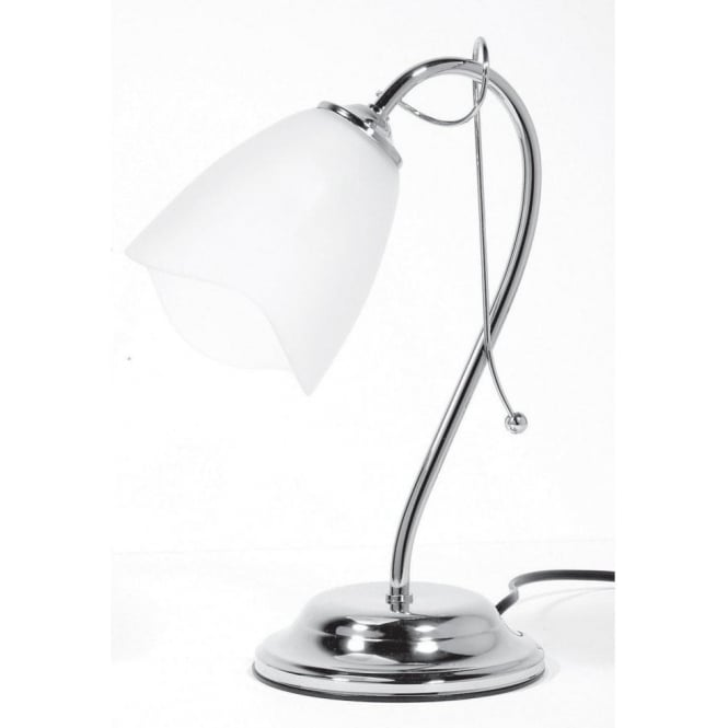 Turin Single Light Table Lamp In Polished Chrome Finish