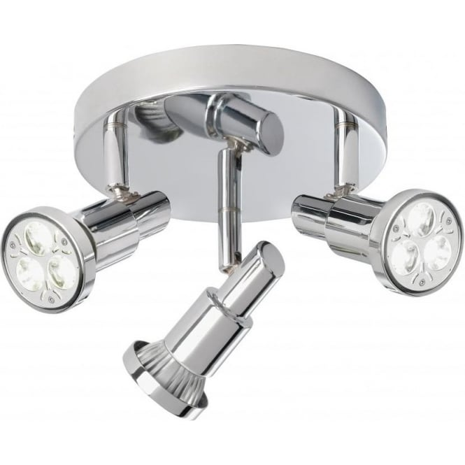 Torch Led 3 Light Flush Circular Spotlight In Polished Chrome Finish