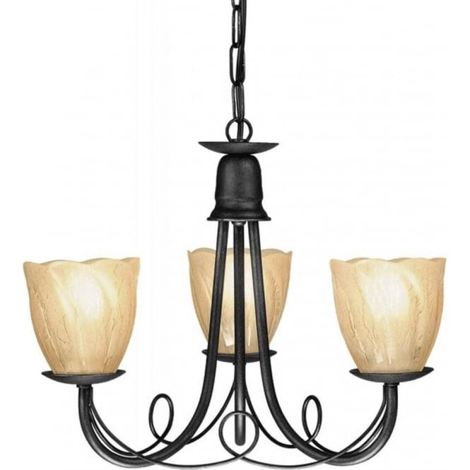 mn3/blk minster 3 light chandelier hand finished in matt black