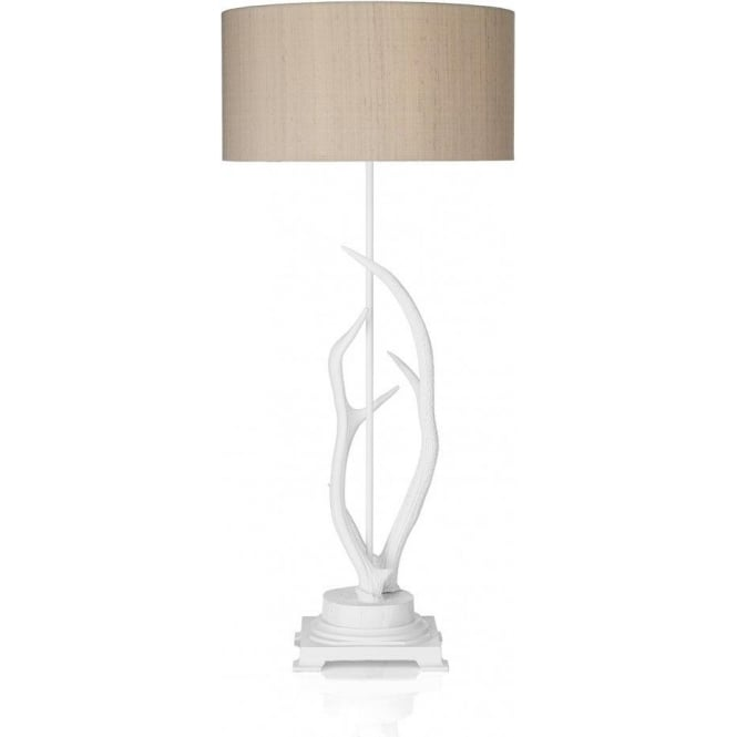 Antler Single Light Table Lamp with a White Finish and Taupe Silk Shade