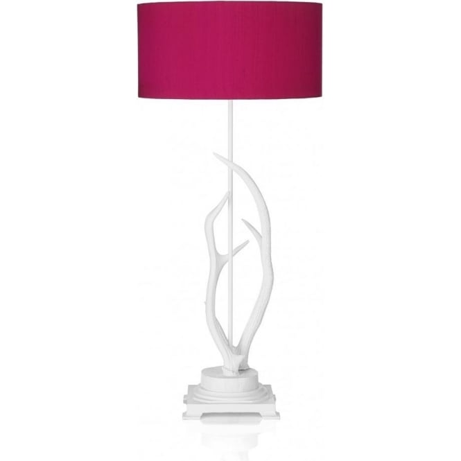 Antler Single Light Table Lamp with a White Finish and Hot Pink Silk Shade