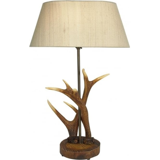 Antler Single Light Table Lamp with Rustic Highland Colouring and Taupe Silk Shade