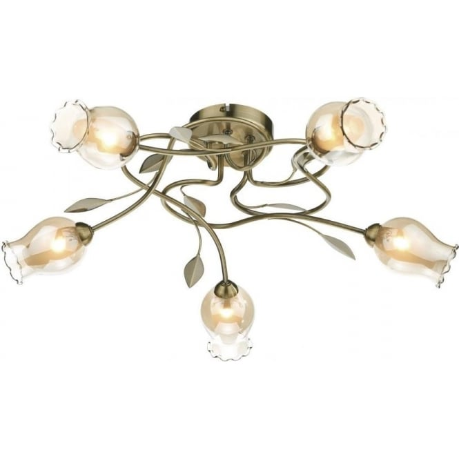 Dar Lighting Clifton 5 Light Semi-Flush Ceiling Fitting in Antique Brass With Floral Glass Shades