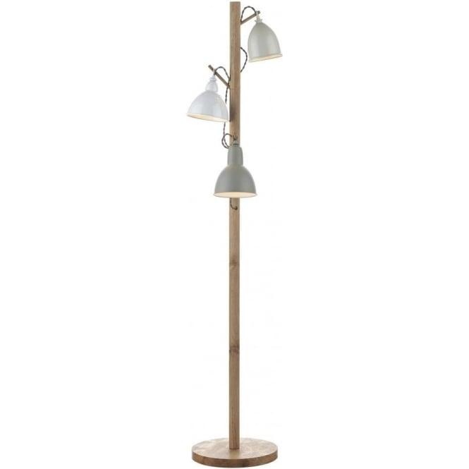Dar lighting blyton 3 light wooden floor lamp with white for Wooden floor lamp grey shade