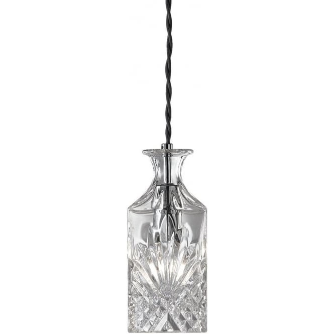 Wine Bar Single Light Ceiling Pendant with Decorative Clear Glass
