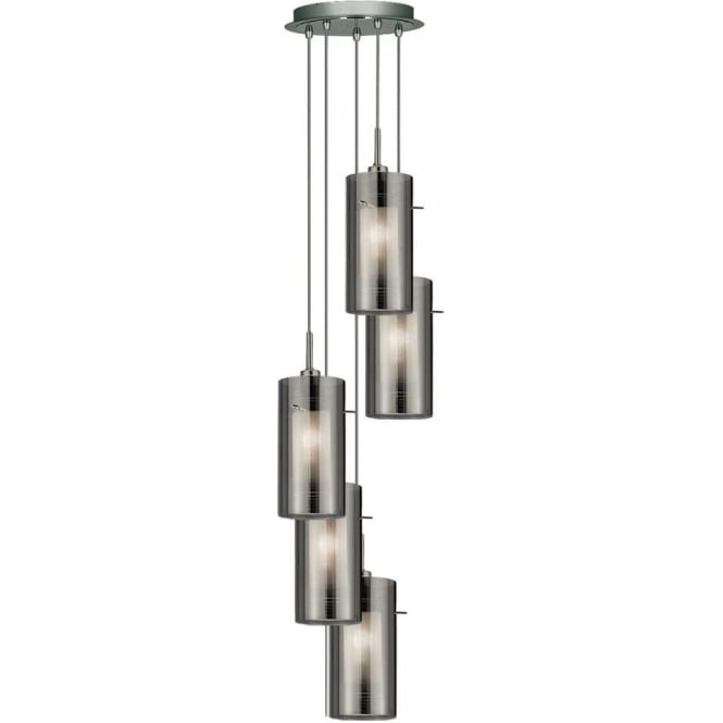 Duo 2 Five Light Pendant in Polished Chrome Finish with Smoked Grey Shades