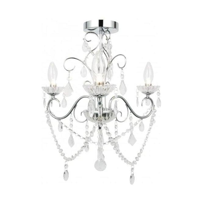 spa20182chr vela 3 light semiflush bathroom chandelier in polished chrome with glass detail