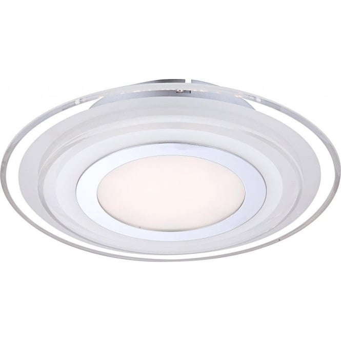 Amos Medium LED Single Light Flush Ceiling Fitting in Polished Chrome with Glass Display