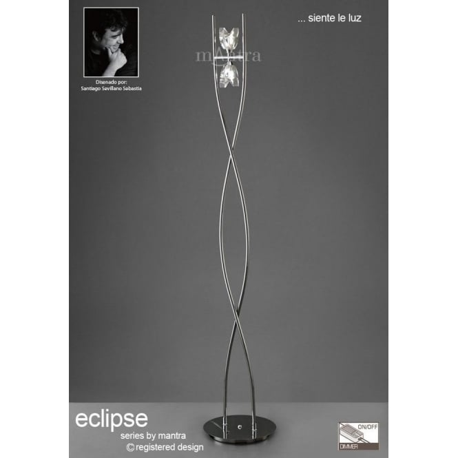 Mantra eclipse 2 light halogen floor lamp in polished chrome finish uk