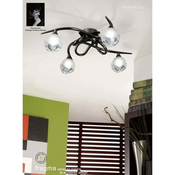 Fragma 4 Light Halogen Flush Ceiling Fitting In Black Chrome Finish