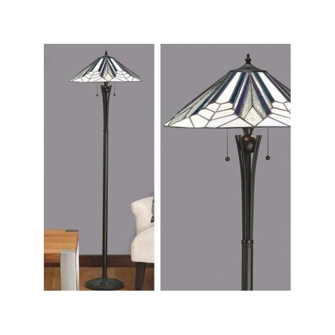 Astoria 2 Light Tiffany Floor Lamp with Art Deco Design and a Black Base