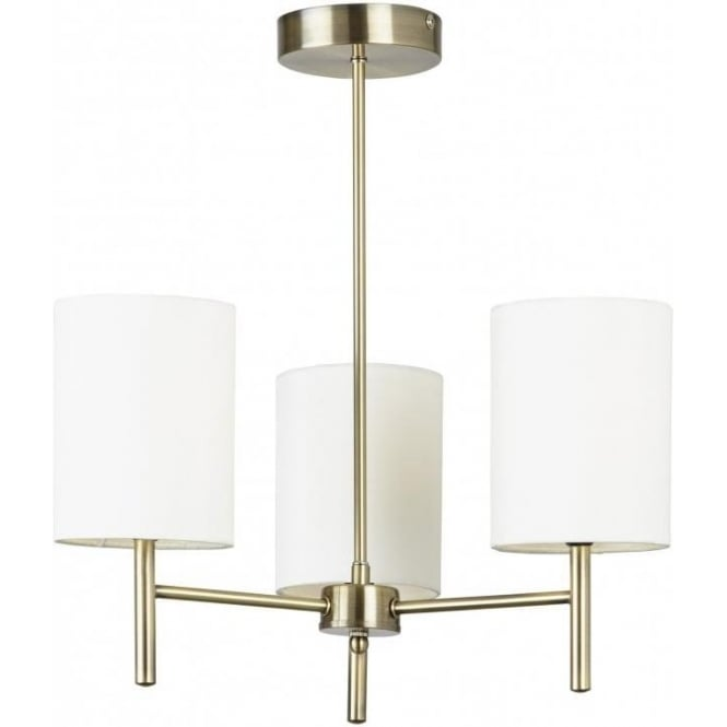 brio3ab brio 3 light chandelier in antique brass with cream fabric shade