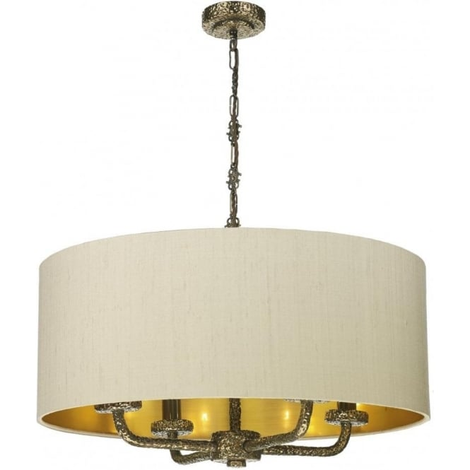 Sloane 4 Light Ceiling Pendant with a Hammered Bronze Finish and Silk Shade