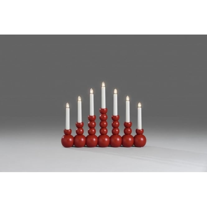 7 Light Welcome Light Candlestick In Red Lacquered Wood Finish
