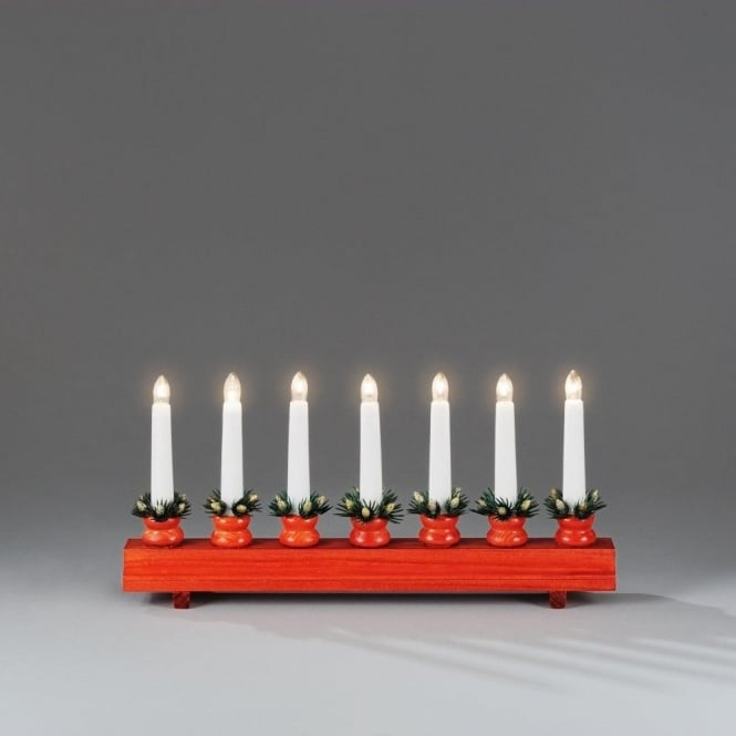 Welcome Light In Red Lacquered Wood Finish With 7 Candlestick Lights