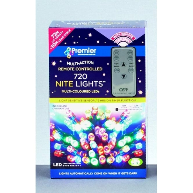 Set Of 720 LED Multi Coloured Nite Lights With Remote Control And Light Sensor