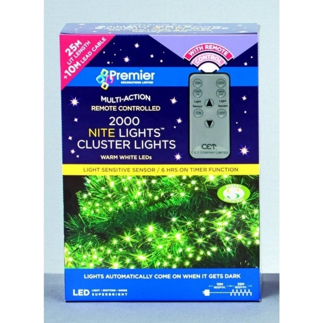Set Of 2000 LED White Cluster Nite Lights With Remote Control And Light Sensor