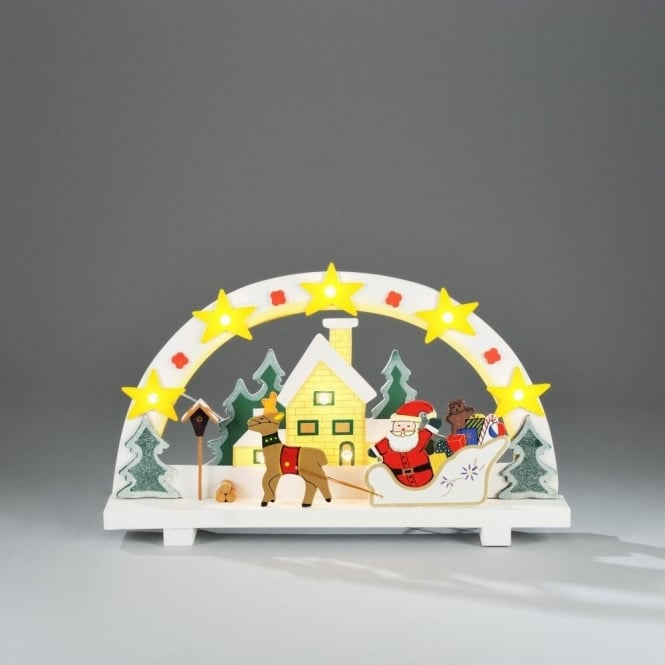 10 Light Wooden Motif Snowy Santa Scene Welcome Light