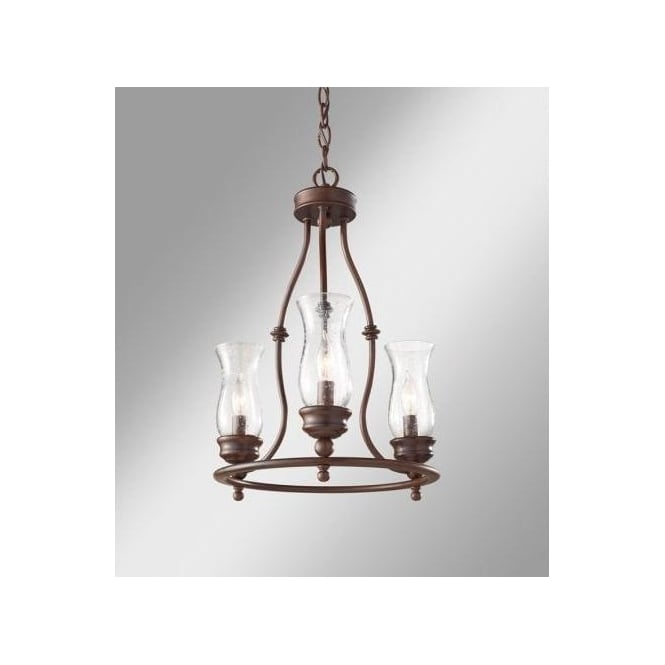 Feiss Pickering Lane 3 Light Cartwheel Chandelier in a Heritage Bronze Finish