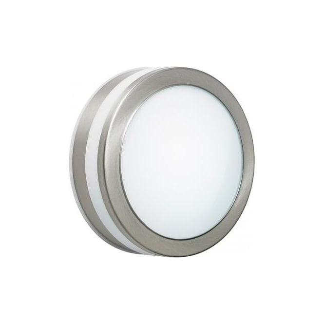 Enluce LED Outdoor Circular Flush Wall Fitting In Stainless Steel Finish With Frosted Diffuser