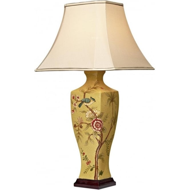Uma Single Light Glazed Ceramic Table Lamp with Cream Faux Silk Shade