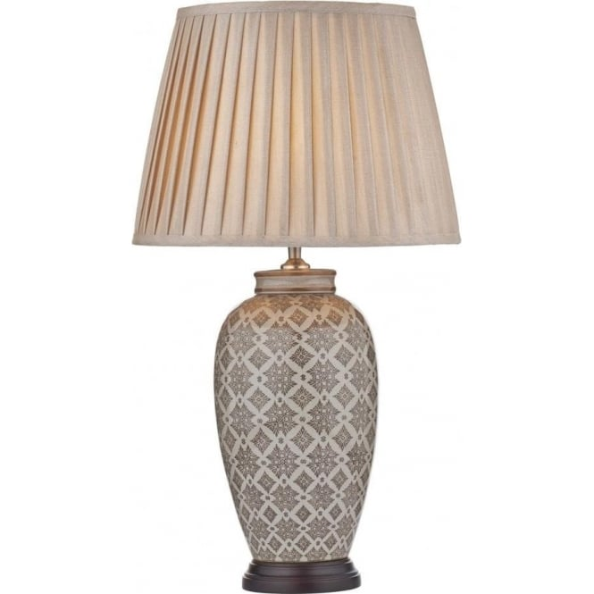 Louise Single Light Table Lamp Complete with Taupe Faux Silk Shade