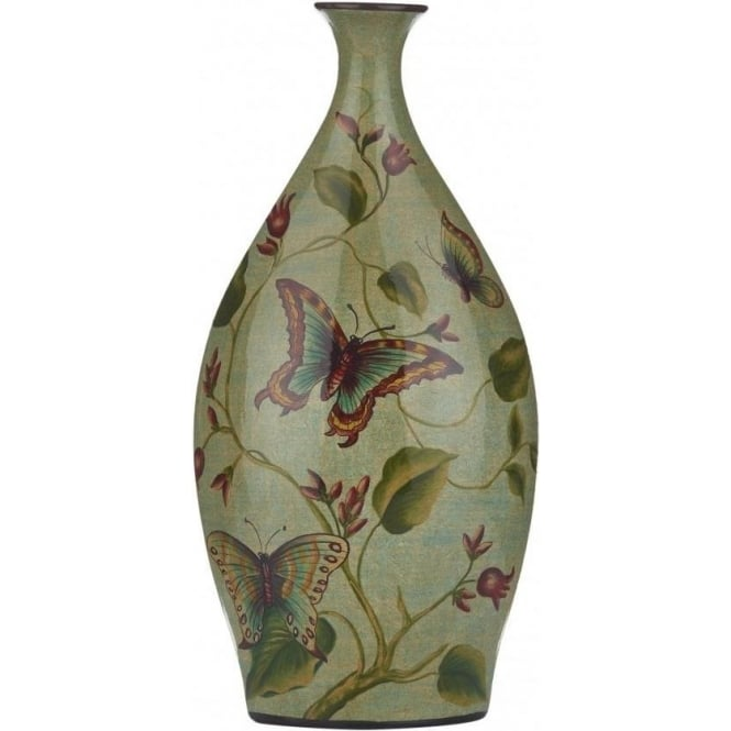 Botanic Ceramic Vase with Green Background and Colourful Butterfly Detail