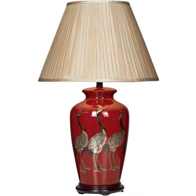 Bertha Single Light Table Lamp with Crane Illustration and Taupe Shade