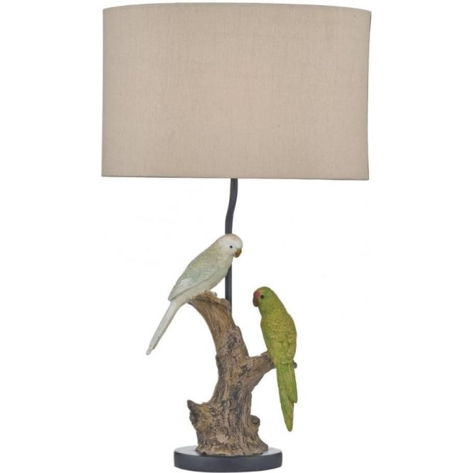 Budgies Single Light Table Lamp Complete with Taupe Faux Silk Shade