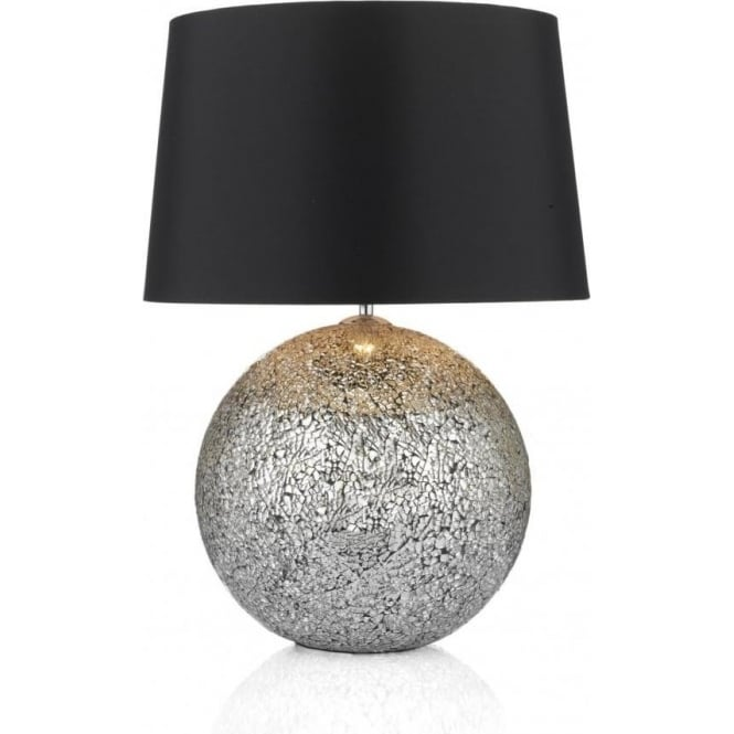 Glitter 2 Light Crackled Mirror Effect Table Lamp Complete with Shade