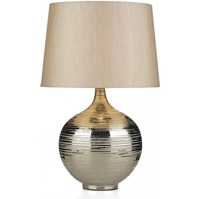 Gustav Single Light Table Lamp with a Silver Finish and Matching Shade