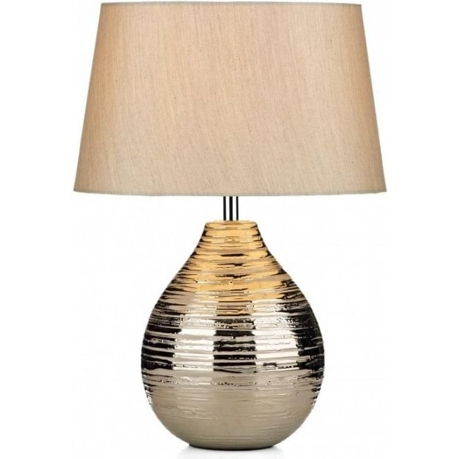 Gustav Single Light Silver Finished Table Lamp Complete with Faux Silk Shade