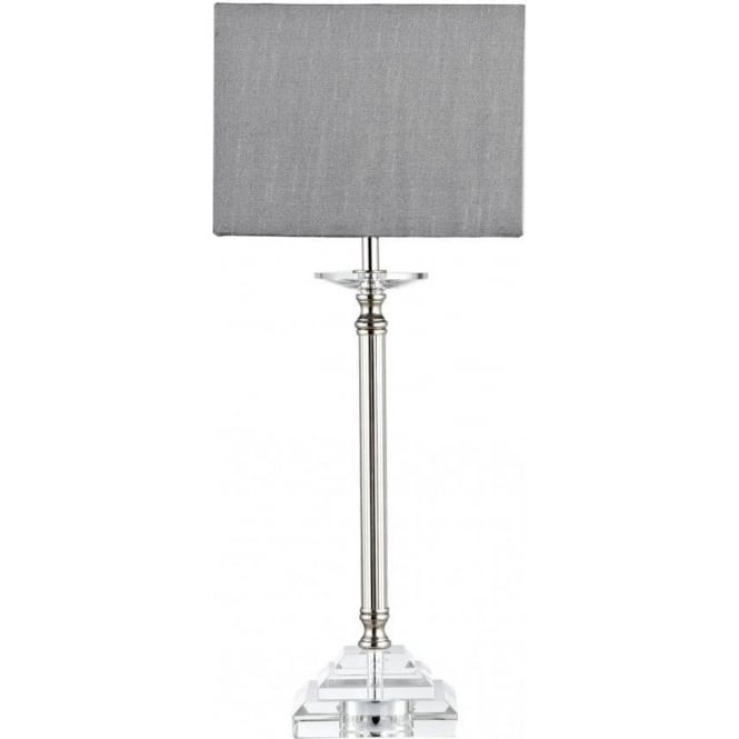 Earl Single Light Crystal Table Lamp with Polished Nickel Detail and Grey Shade