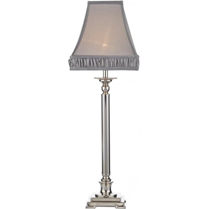 Natasha Single Light Table Lamp in Polished Nickel with Grey Shade