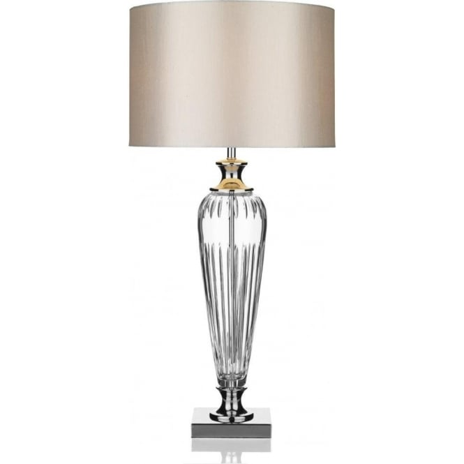 Hinton Single Light Table Lamp with Clear Crystal and Silver Shade