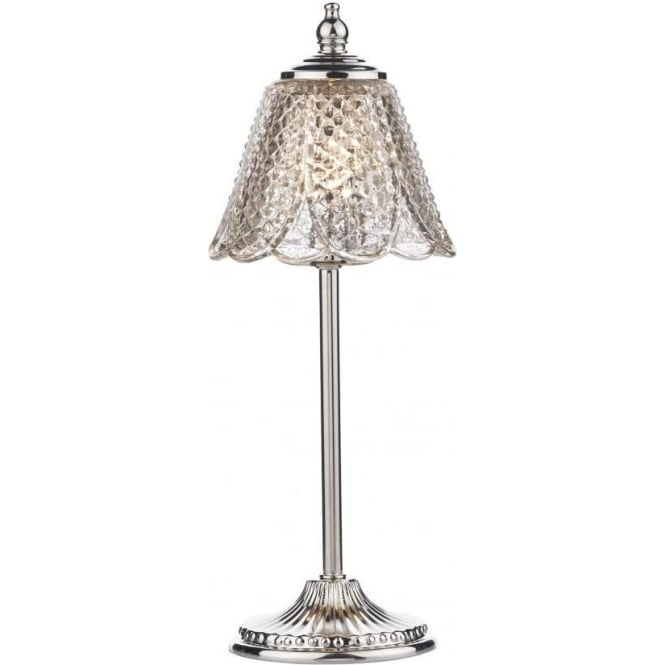 Amy Single Light Polished Nickel Table Lamp with Antique Silver Glass
