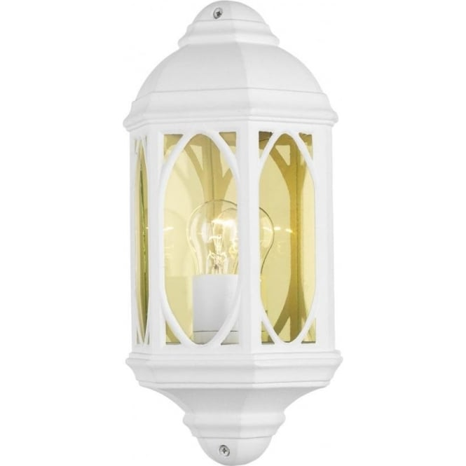 Tenby Outdoor Single Light Half Wall Lantern in a White Finish