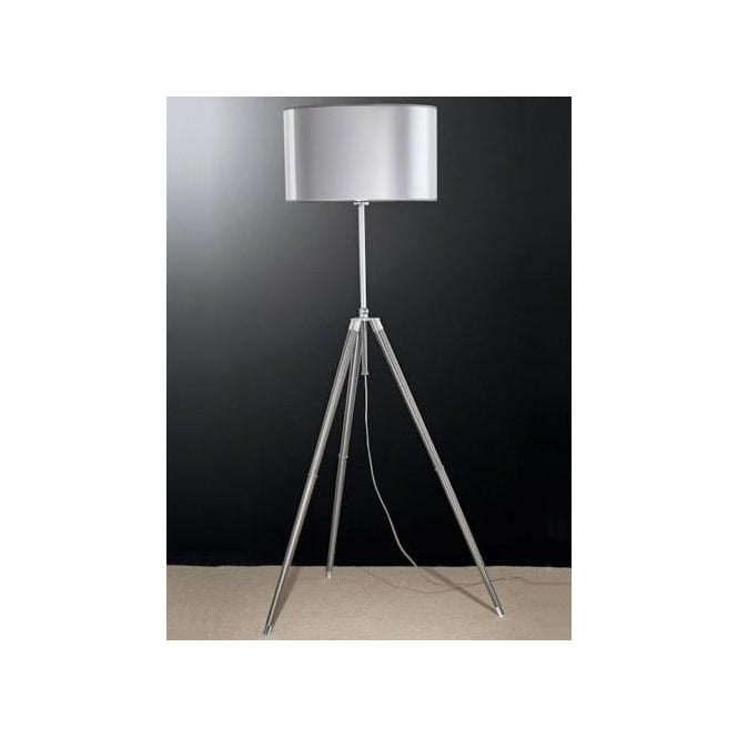 Franklite tripod single light floor lamp with silver shade for Tripod floor lamp silver base white shade
