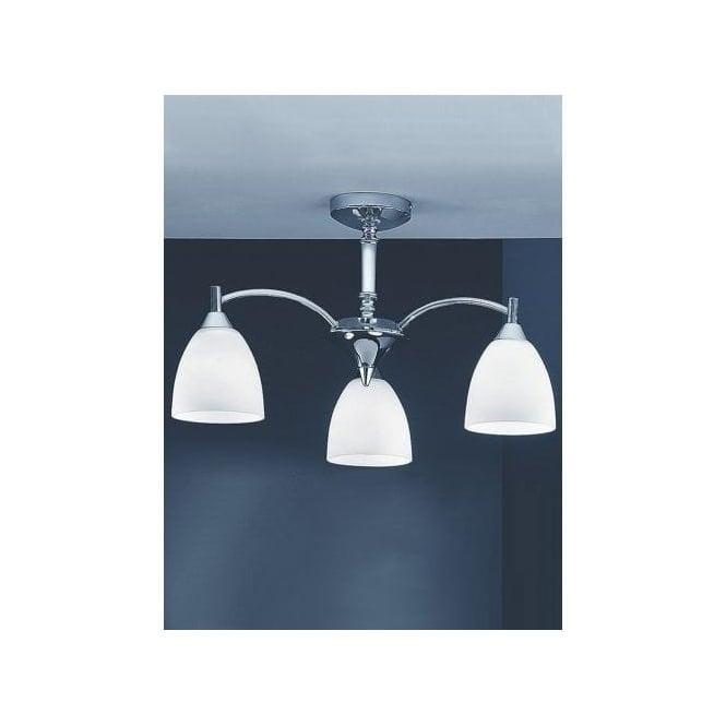 emmy 3 light polished chrome semiflush chandelier with satin opal glass
