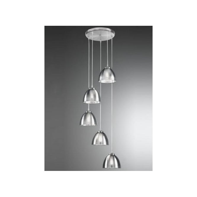 Franklite Vetross 5 Light Circular Ceiling Pendant With Silvered Glass Shades