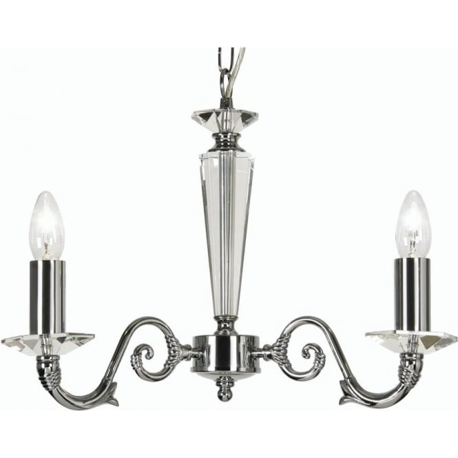 7532/3 ch wren 3 light ceiling multi arm chandelier with crystal in polished chrome finish