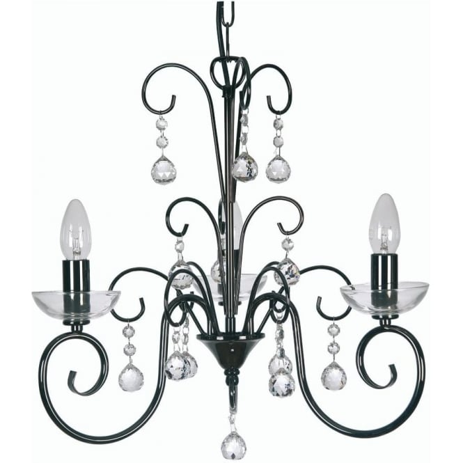 1784/3 mb atanea 3 light ceiling multi arm chandelier with crystal in mirror black finish