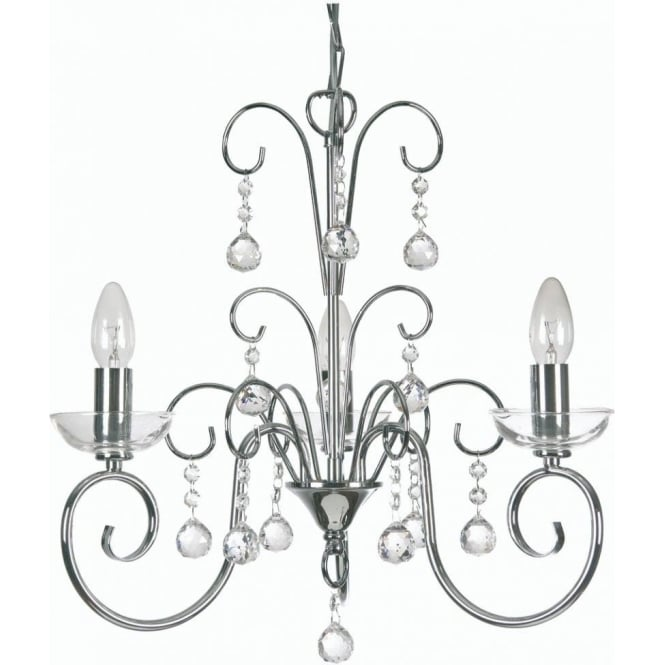 1784/3 ch atanea 3 light ceiling multi arm chandelier with crystal in polished chrome finish
