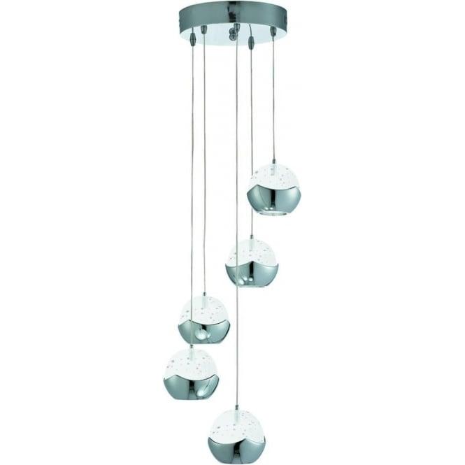 searchlight lighting iceball led chrome 5 light multi drop. Black Bedroom Furniture Sets. Home Design Ideas